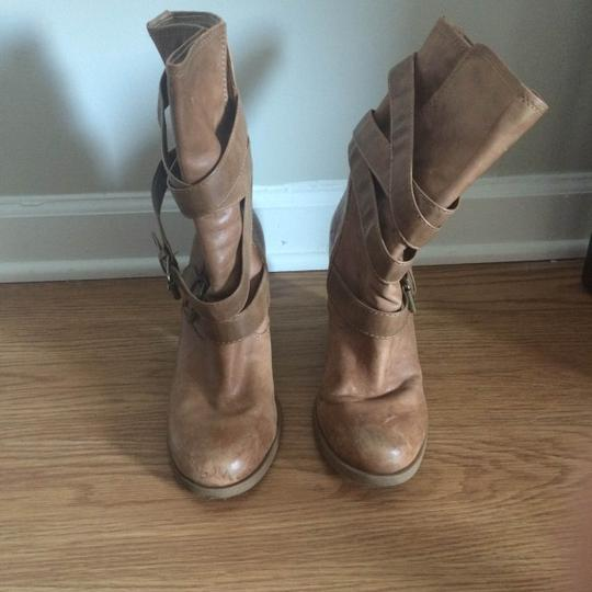 Jessica Simpson Leather Chunky Caramel Tan Boots