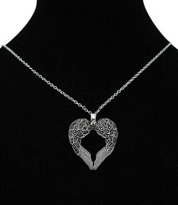 unknown black aut 925 sterling silver dark angel wings religious death family mom daughter heart beaded chain diamond pave cz