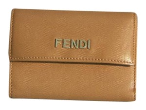 Fendi Fendi Brown Dot Embossed Leather French Flap Wallet