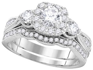 Ladies Luxury Designer 14k White Gold 1.13 Cttw Diamond Engagement Ring Fashion Bridal Set