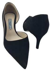 Prada Jimmy Choo D'orsay Kitty Heel Black Pumps