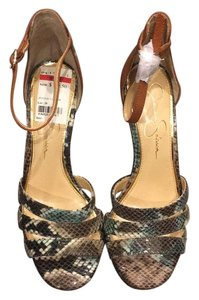 Jessica Simpson Brown with snakeskin accents Pumps