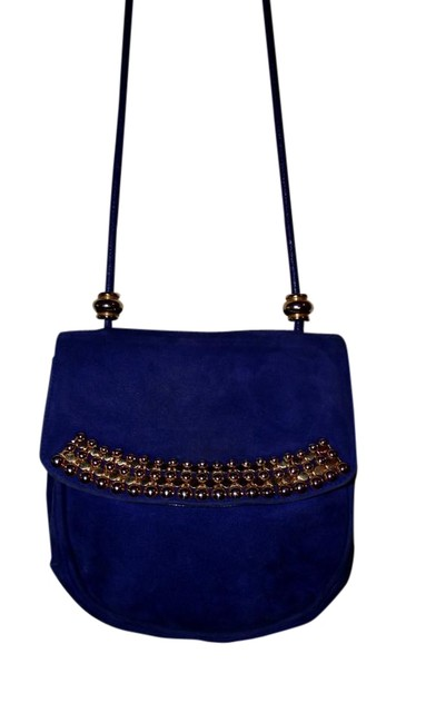 Item - Vintage Rare Cobalt Gold Beaded Handbag Blue Suede Cross Body Bag