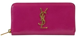 Saint Laurent YSL Women's 370776 Monogram Patent Leather Zip Around Wallet, Pink