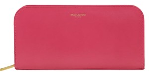 Saint Laurent YSL Women's 326599 Classic Zip Around Wallet, Pink