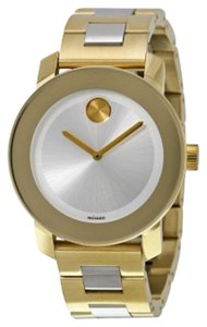 Movado Two Tone Silver and Gold Stainless Steel Designer Ladies Watch