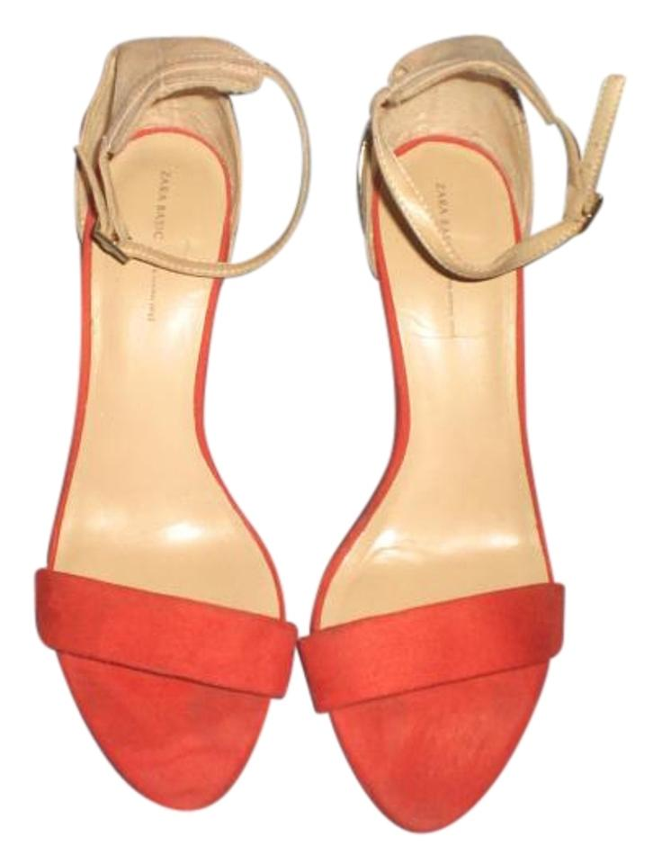 Zara Orange/Tan Ankle Strap Gold Heels with Gold Strap Heels Sandals e9415c