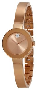 Movado Rose Gold Stainless Steel Slim Bangle Cuff Bracelet Ladies Designer Dress Watch