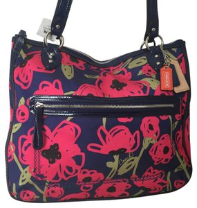 Coach Floral Poppy Navy Hallie Tote in Multicolor