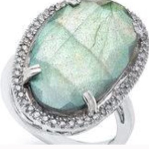 Bloomingdale's Labradorite Slice Diamond Border RIng