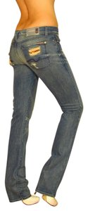 7 For All Mankind Long Classic Fading Light Wash Straight Leg Jeans-Distressed
