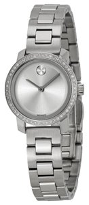 Movado Diamond Pave Bezel Silver Tone Stainless Steel Ladies Luxury Watch