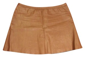 BCBGMAXAZRIA Faux Leather Micro-mini Mini Skirt Camel
