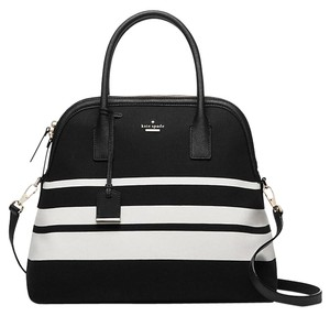 Kate Spade Cameron Street Mega Margot Black & White Stripe Satchel in Black/White