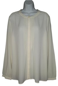 Banana Republic Crepe Ivory Career Top