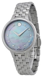 Movado Grey Mother of Pearl and Diamond Dial Silver Stainless Steel Luxury Ladies Watch