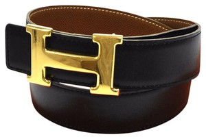 hermes belt black brown reversible constance silver h buckle 85cm