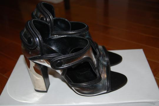 Balenciaga Patent Leather Silver with Black Trim Sandals