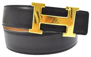 Hermès HERMES Constance Reversible H Buckle Belt Brown Black Leather