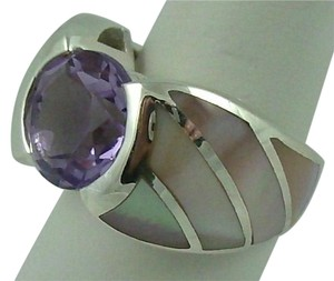 2.95ct Amethyst and Pink Mother-of-Pearl Inlay Sterling Silver Ring - Size 5.