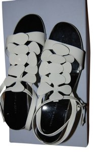 Robert Clergerie Patent Leather White and Black Sandals