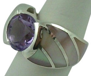 Other 2.95ct Amethyst and Pink Mother-of-Pearl Inlay Sterling Silver Ring - Size 6