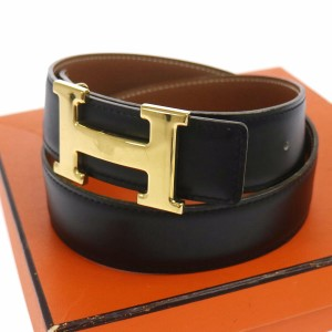 Hermès HERMES Constance Reversible H Buckle Belt Brown Black Leather size 70