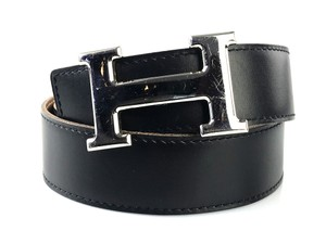 Hermès Noir and Gold Reversible 32mm Constance Belt