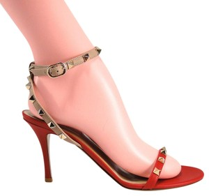 Valentino Rockstud Nude Nudist Strappy Sandals red Pumps