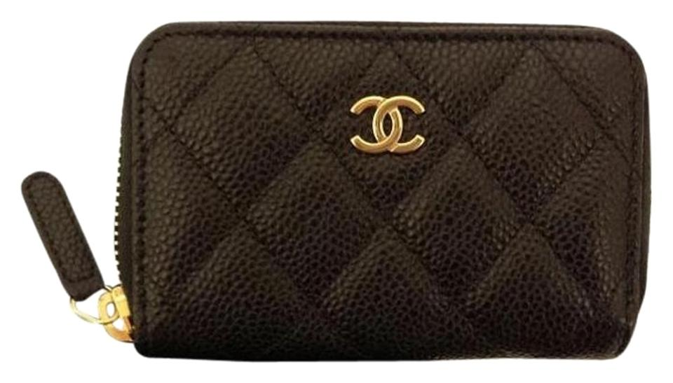 c715642bfd44 Chanel Chanel Caviar Zip Coin Card Small Wallet Black w Gold HW Image 0 ...