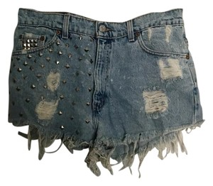 Levi's Distressed Studded Cut Off Shorts blue