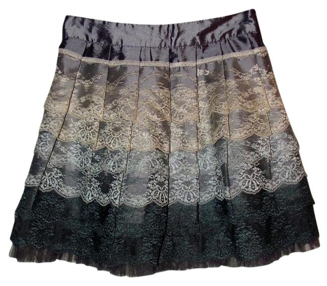 Item - Green Multi Color Lace Pleated Small Cream Beige Gray Army Skirt Size 4 (S, 27)