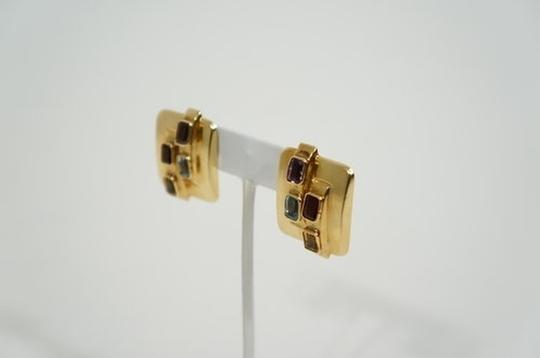 Other Vintage 14k Multicolor Semi Precious Stone Square Earrings.