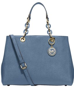 Michael Kors Mk Saffiano Leather Gold Mk Cynthia Blue Satchel in Cornflower Blue/Gold hardware