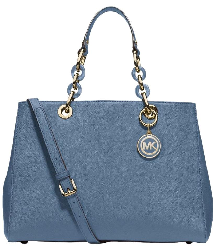 5351872d1132 ... greece michael kors mk bags saffiano leather mk purse cynthia satchel  in cornflower blue gold hardware
