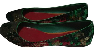 Miu Miu Green, gold, red, and copper Flats