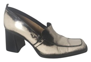 CoSTUME NATIONAL Leather Square Toe Casual Rocker IVORY BLACK Pumps