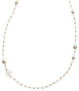 Tory Burch Tory Burch Crystal Pearl Chain Rosary Necklace