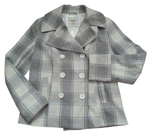 Old Navy Plaid Plaid Short Double Breasted Teal And And White Pea Coat