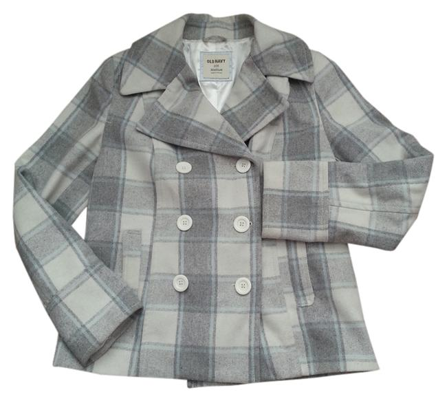 Item - Gray Plaid Plaid Short Double Breasted Teal and And White Coat Size 8 (M)