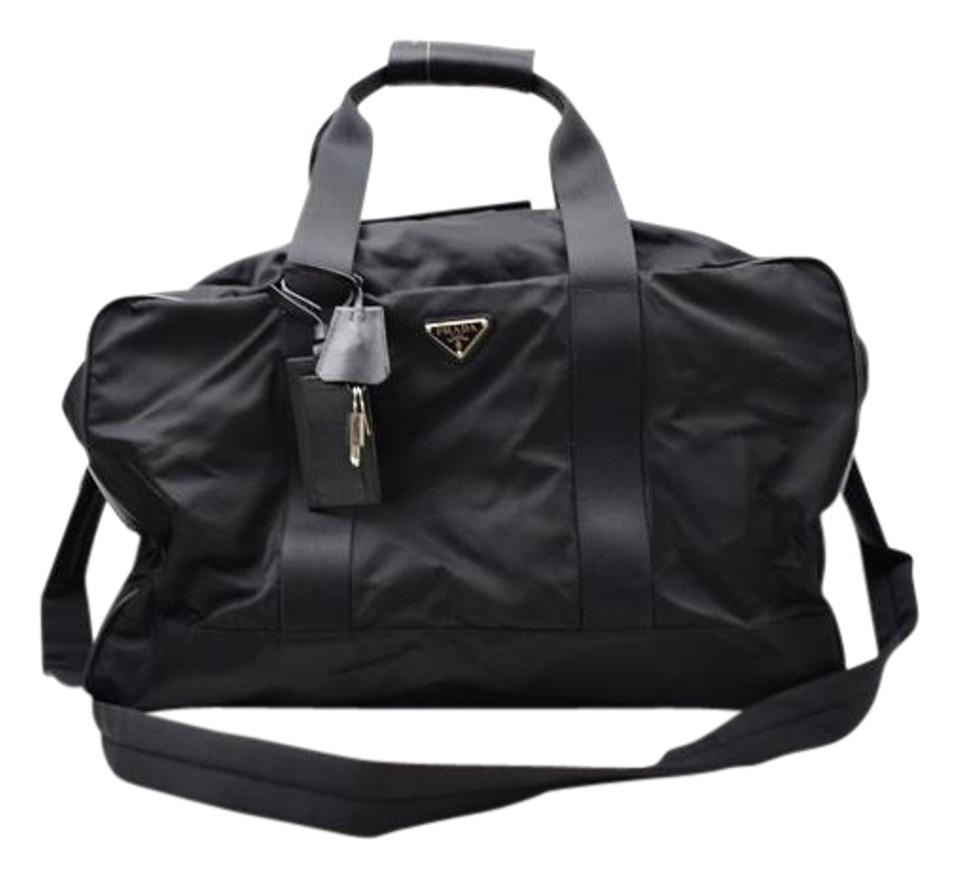 parada purse - Prada Tessuto Weekender Nylon Leather Duffle Travel Luggage ...