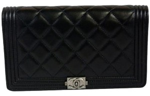 Chanel Black Le Boy Wallet Ruthenium Hardware
