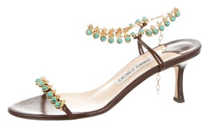 Jimmy Choo Leather Embellished Gold Brown/Gold/Turquoise Sandals