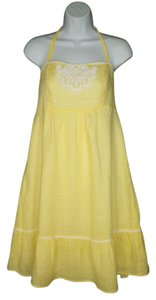 Lilly Pulitzer short dress Linen Yellow Halter Embroidered Summer on Tradesy