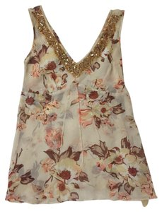 Banana Republic Silk Sleeveless Gold Embellished Sequins Top