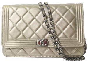 Chanel Le Boy Gold Metallic Flap WOC Wallet On Chain Crossbody Evening Bag