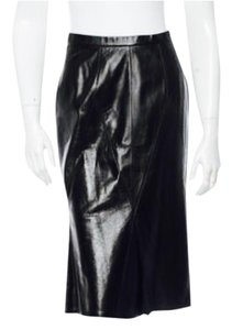 Chanel Leather Channel Pleats Skirt Black