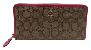 Coach Accordion Zip Wallet in Signature Canvas with Dahlia Color
