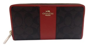 Coach Accordion Zip Wallet in Signature Canvas with Carmine Color Leather