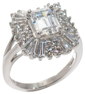 Absolute Simulated Diamond 3.20ct Absolute Emerald-Cut Round and Baguette Frame Sterling Ring